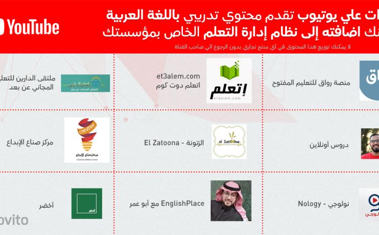 قنوات علي يوتيوب تقدم محتوي تدريبي باللغة العربية  يمكنك اضافته إلى نظام إدارة التعلم الخاص بمؤسستك